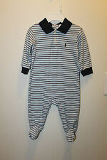 ralph lauren baby boy polo body suit jumper romper white blue striped long 6 9 m