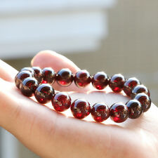Natural Wine Red Garnet Crystal Round Beads Stretch Bracelet 10mm AAA
