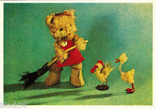 1966 Soviet Russian card SOFT TOYS: Cat sweeps the yard, Duck and Chicken watch