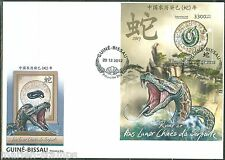 GUINEA BISSAU 2012 LUNAR NEW YEAR OF THE SNAKE  SOUVENIR SHEET FIRST DAY COVER