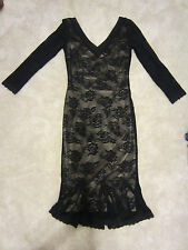 DOLCE GABBANA BLACK LACE NUDE LINED 24/38 SMALL COCKTAIL DRESS