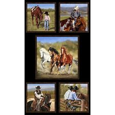 "Happy Trails Western Cowboy Horses Open Range 5 Quilt Squares Cotton 24"" x 44"""