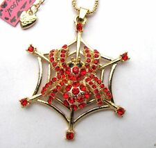 Betsey Johnson shiny Red crystal Spider&spider web pendant Necklace,286L,R