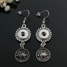 12MM Fashion Metal silver color Drill Earrings For Noosa Chunk Charm Snap Button