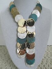 NWT Auth Robert Lee Morris Soho Gold Plated Multi Disc Statement Necklace $145