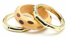 NWT Amrita Singh Gold Wood Trinidad 3 Bangle Bracelet Set KB 034
