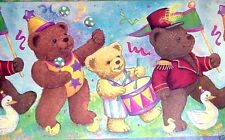 "TEDDY BEAR PARADE WIDE WALLPAPER BORDER LOT OF 2 ROLLS - 30' X 18""  CHILDRENS"