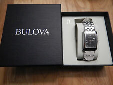 New Authentic Ladies' BULOVA Diamond Stainless Steel Watch Black Retail: $240
