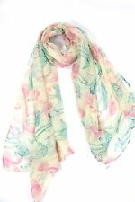 B91 Pink Teal Green Ivory Flamingo Scarf Fuchsia Scarf Wrap Shawl Boutique