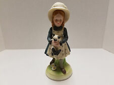 VINTAGE Fine Porcelain Girl Cat Kitten Figurine Signed Holly Hobbie Creation 8""