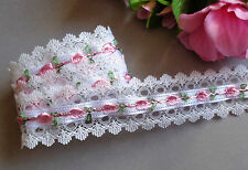 1 1/2 inch wide Lace Ribbon white/pink roses price for 1 yard