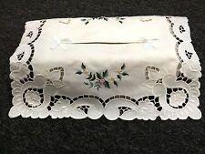 Elegantlinen Embroidered Rose Bud Cutwork Rectangle Fabric Tissue Box Cover