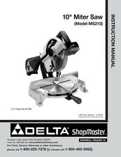 "Delta Shopmaster MS210 10"" Miter Saw Instruction Manual"