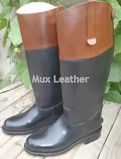 Mux Leather Fox Hunting Horse Riding Leather Dress Boot with Tan Top UK 5-12