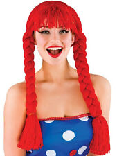 Ladies Red Rag Doll Wig With Fringe Fairytale Story Book New Plaits Jessie