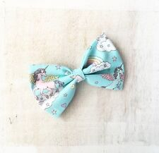 Pretty pastel blue Unicorn rainbow cloud hair bow clip Kawaii pin up