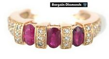 3 ruby + 30 diamond 1.20 carats 14K rose gold engagement ring love anniversary