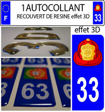 1 sticker plaque immatriculation auto DOMING 3D RESINE CASQUE DE POMPIER 2 DE 33