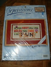 Xpressions by Bucilla Needlepoint Kit Obey The Rules #4797 NEW