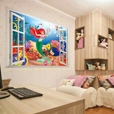 Home Kids Bedroom Decor DIY 3D Cartoon Mermaid Window Wall Stickers Vinyl Art