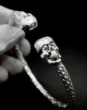 Biker Skull Gothic West Indian Sterling Silver  Cuff Bangle Ball Bracelet