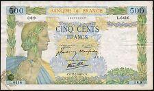 1942 FRANCE 500 FRANCS BANKNOTE * 160385389 * gF * P-95b *