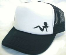 Left side mudflap girl Trucker Hat mesh Hat Snap Back Hat black