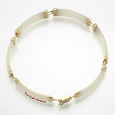 "White Mother of Pearl Bracelet Set In 14k Yellow Gold with ""Joy"" Clasp 8.8 Grams"