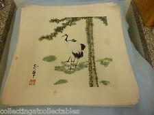 Chino lavado de tinta pintura (firmado con sello de artista) grúas