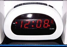 Mainstays LED Digital Alarm Clock Electric w/ Battery Backup Snooze Sleep White