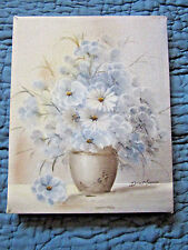 VINTAGE vase flower daisy  floral hand painted ORIGINAL oil PAINTING Stacy