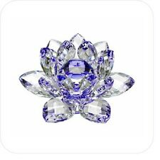 5in Blue Hue Reflection Crystal Lotus Flower Feng Shui Home Decor with Gift Box