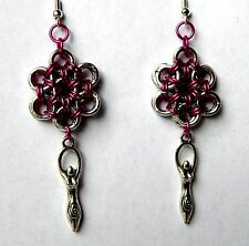 Pink Chain maille Fertility Goddess Earrings By S Violet Jewelry Made in the USA