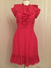Pretty Ted Baker Ruffle Front Buttons Bright Pink Silk Dress US Size 6