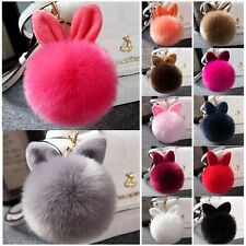 Rabbit Fur Ball PomPom Cell Phone Car Keychain Pendant Handbag Key Ring Gray