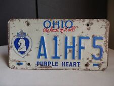 Ohio State Car License Plate Purple Heart A1HF5 United States Navy War Veteran