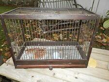 Large Antique Shabby Wire & Wood Bird Cage with Accessories 17X8X12
