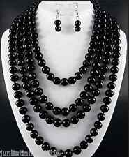 NEW FASHION BLACK 8mm black agate necklace 80''