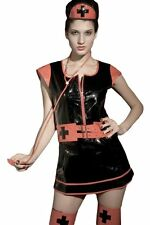 Sexy Women's Gothic Nurse PVC Fancy Dress Costume