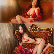 Sexy Women Lady Lingerie Satin Sakura Kimono Cosplay Bkini G-String Gown Set Red