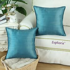 Set of 2 Cushion Covers Pillows Shells Dyed Stripes Teal 45cm X 45cm Home Decor