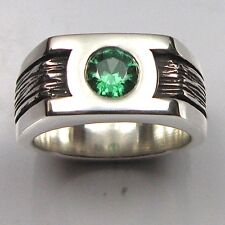 MJG STERLING SILVER GREEN LANTERN RING.10MM BAND. 6MM CZ. SZ 9.5