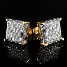 18K Gold ICED OUT Simulate Diamond Micropave AAA Earring Stud Square Hip Hop 11G