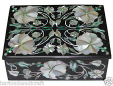 "4""x3""x2"" Black Marble Jewelry Box Mother of Pearl Mosaic Inlay Floral Art H2375"