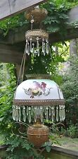 Antique Hanging Oil Parlor Library Lamp Hand Painted Glass Shade