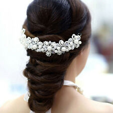 Voberry White Pearl Crystal Bride Headdress By Hand Wedding Dress Accessories