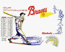 Milwaukee Braves Promo Poster 1955 Schedule, 8x10 Color Photo