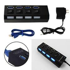 Black 4 Port USB 3.0 Hub On/Off Switches + AC Power Adapter Cable for PC Laptop