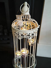 Set of 2 XL Ivory Shabby Chic Tealight Birdcages Wedding Centre Piece Bird Cage