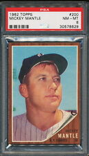 MICKEY MANTLE 1962 TOPPS YANKEES CARD #200 PSA 8  *VERY CLEAN*